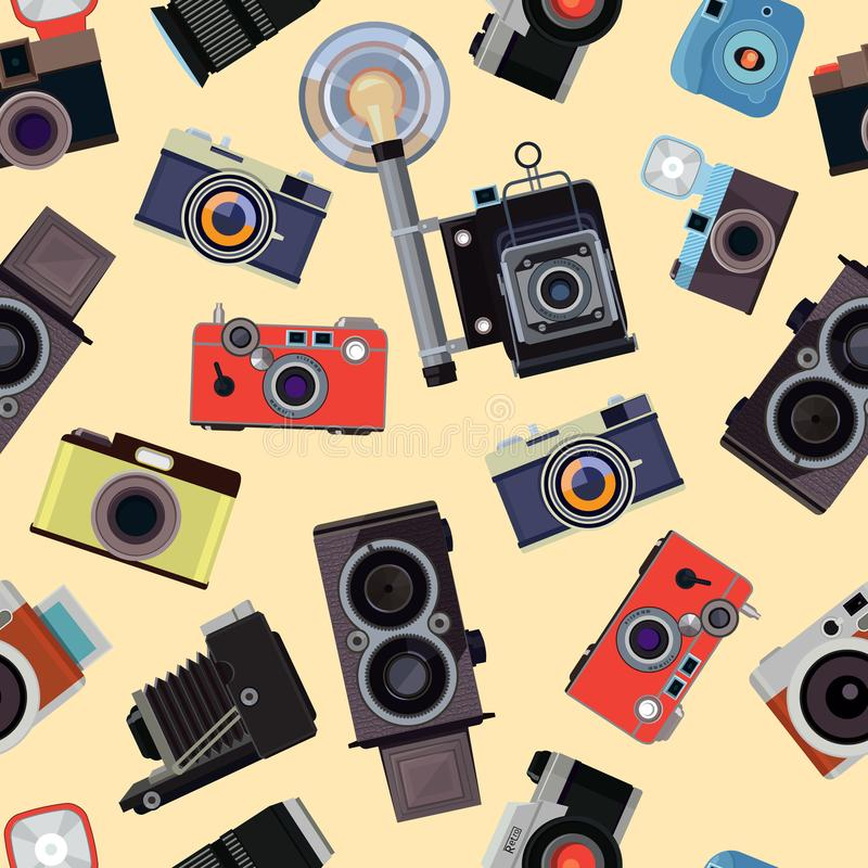 Modelo inconsútil de la historieta con los ejemplos de las cámaras retras de la foto ilustración del vector