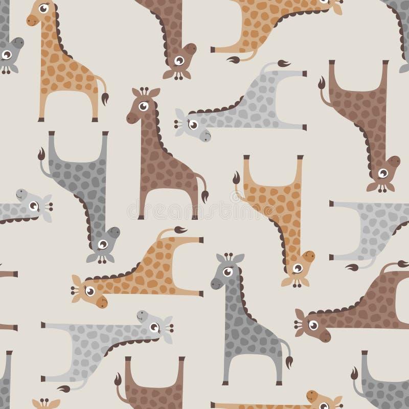 Modelo inconsútil de la historieta de la jirafa stock de ilustración