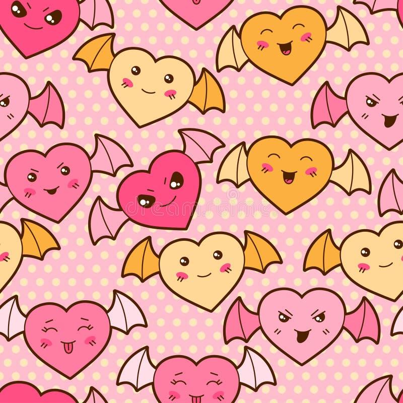 Modelo inconsútil de la historieta del kawaii con los corazones lindos stock de ilustración