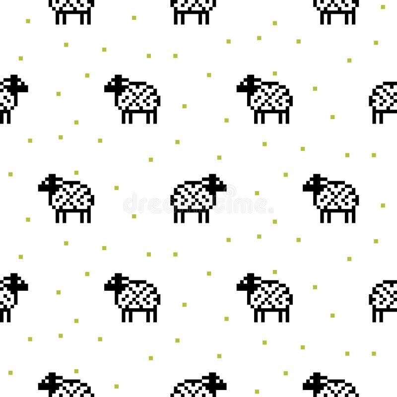 Modelo inconsútil de la historieta de las ovejas del arte blanco y negro del pixel stock de ilustración