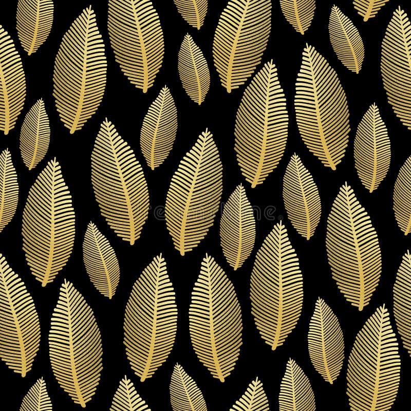 Modelo inconsútil de la hoja con textura de la hoja de oro en negro libre illustration