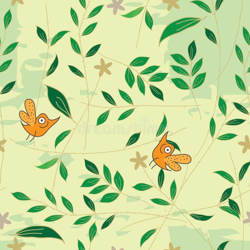 Modelo inconsútil de la hoja del olor del pájaro libre illustration
