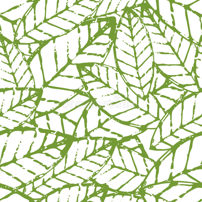 Modelo inconsútil de la hoja del vector de la acuarela Verde abstracto a del grunge stock de ilustración