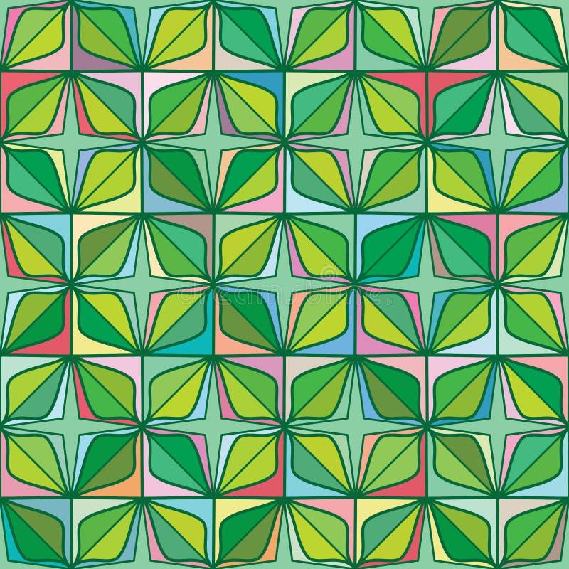 Modelo inconsútil de la hoja de la forma del diamante de la simetría de cuatro estrellas del verde libre illustration