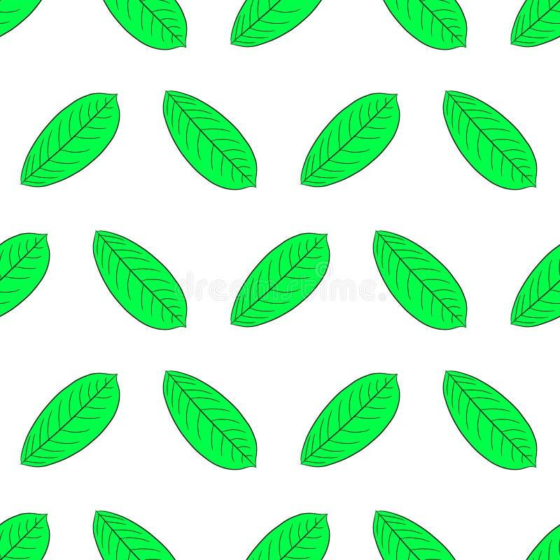 Modelo inconsútil de la hoja verde de la planta del negro del contorno stock de ilustración