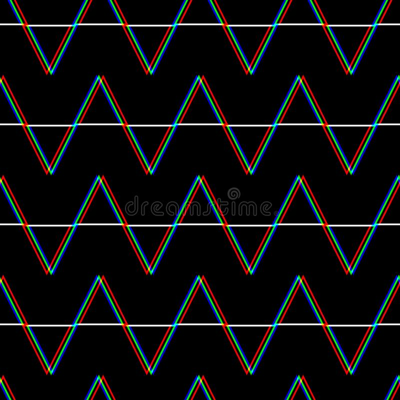 Modelo inconsútil de la interferencia del vector Color en fondo negro Elemento del triángulo Diseño del extracto del ruido del pi ilustración del vector