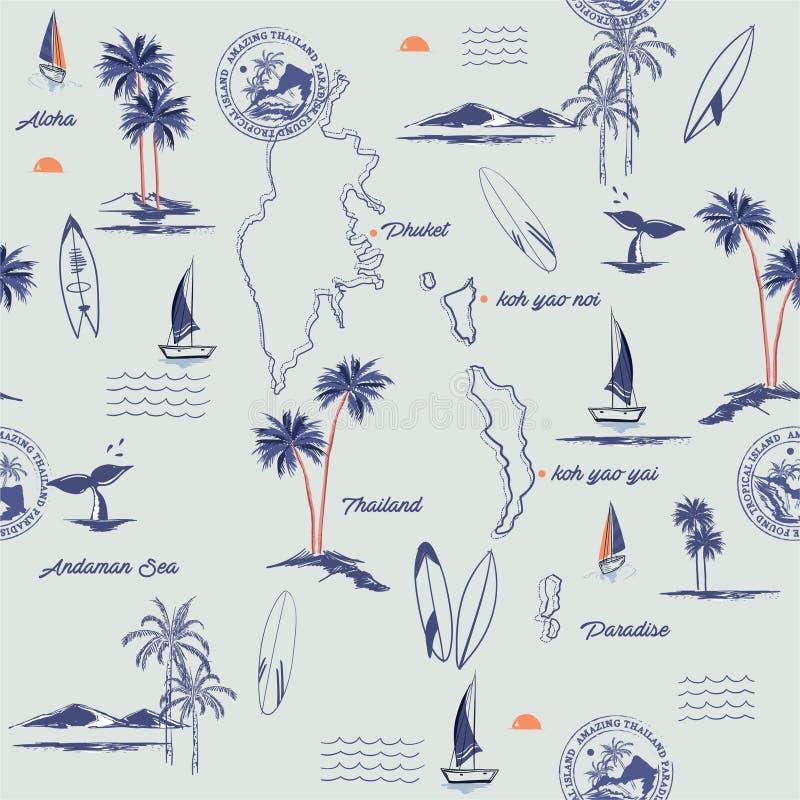 Modelo inconsútil de la isla Paisaje de la isla de Phuket en Tailandia con estilo exhausto de las palmeras, de la playa y de la m stock de ilustración
