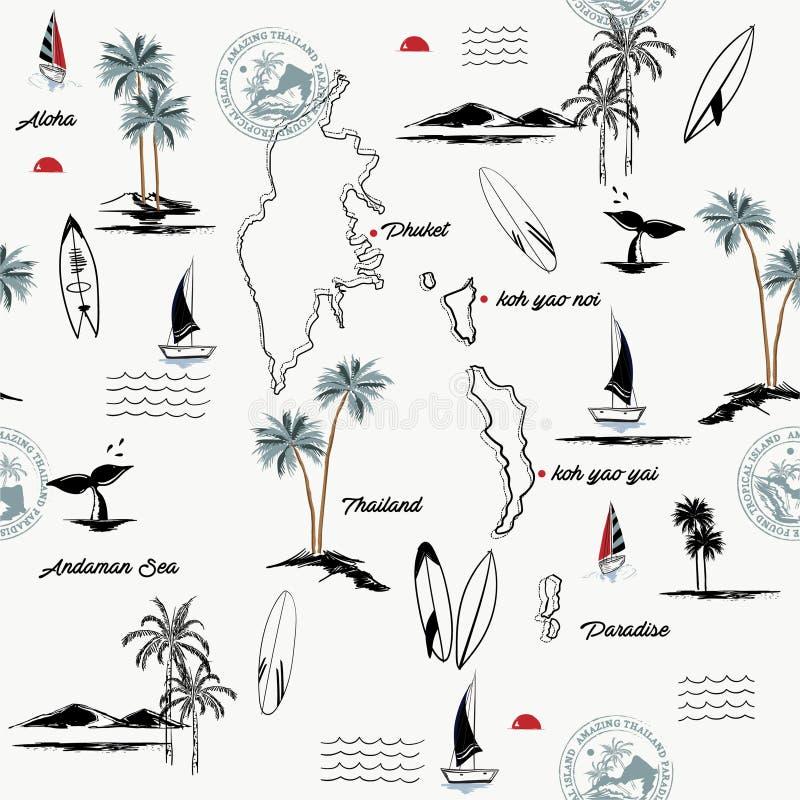 Modelo inconsútil de la isla de PHUKET en humor tropical del paraíso de Tailandia, el diseño para la moda, la tela, la web, el pa libre illustration