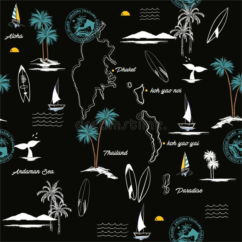 Modelo inconsútil de la isla de PHUKET en humor tropical del paraíso de Tailandia, el diseño para la moda, la tela, la web, el pa ilustración del vector