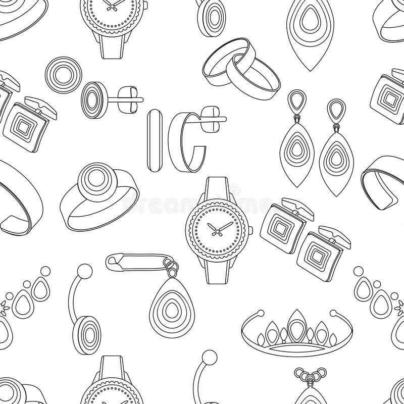 Modelo inconsútil de la joyería, fondo del vector, ejemplo monocromático blanco y negro Artículos de la decoración del contorno e stock de ilustración