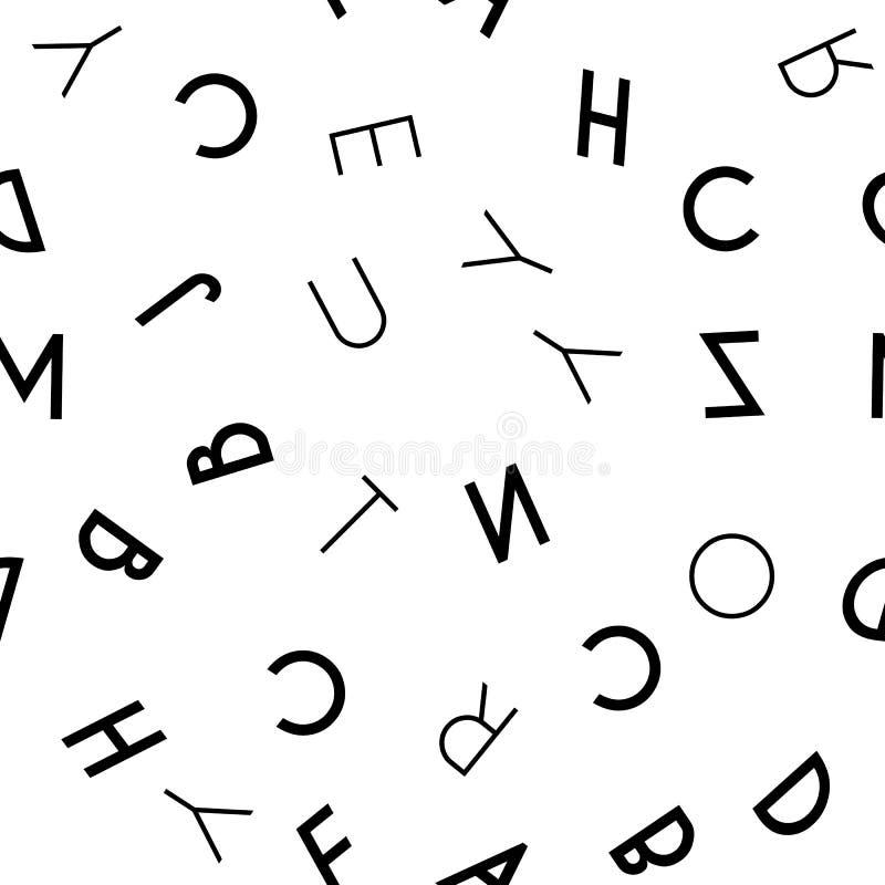 Modelo inconsútil de la letra negra en el fondo blanco stock de ilustración
