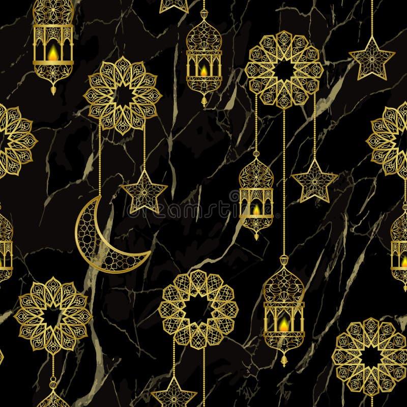 Modelo inconsútil de la linterna de oro árabe libre illustration