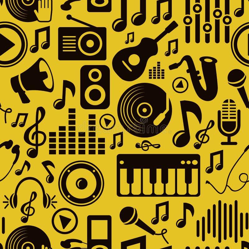 Modelo inconsútil de la música del vector con los iconos ilustración del vector