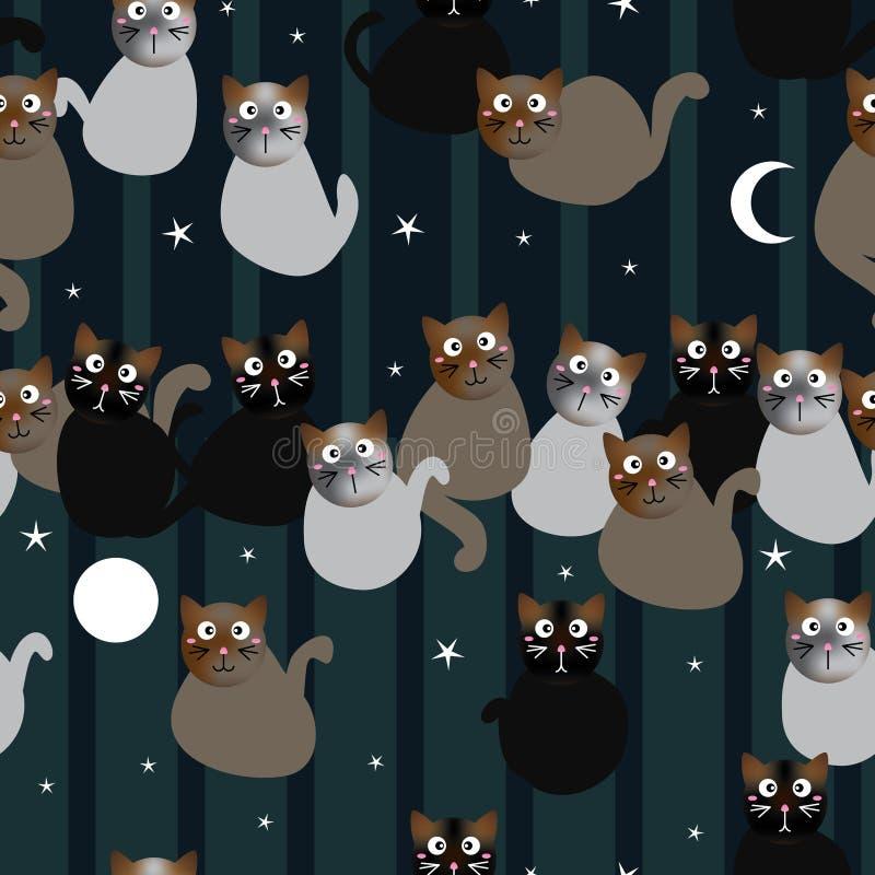 Modelo inconsútil de la mañana de la noche del gato stock de ilustración