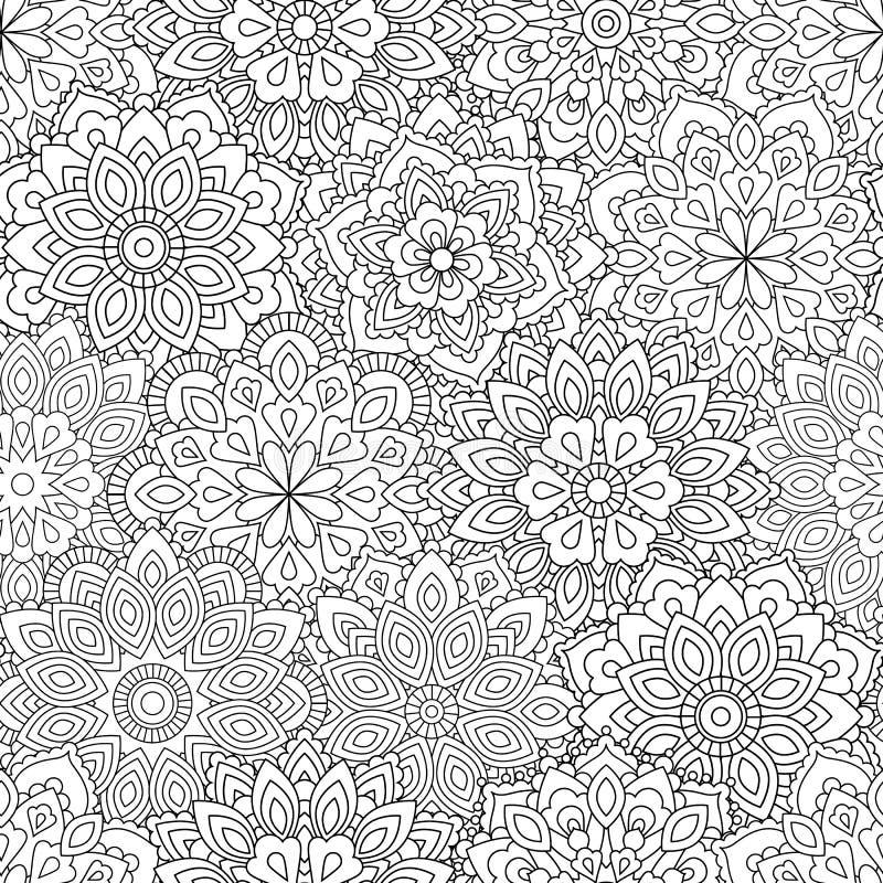 Modelo inconsútil de la mandala en estilo oriental étnico Flor decorativa del vintage para la alheña, materia de la yoga, mehendi imágenes de archivo libres de regalías