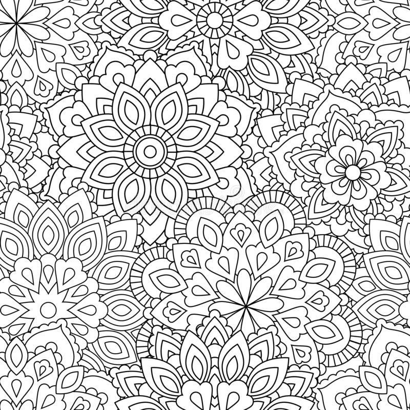 Modelo inconsútil de la mandala en estilo oriental étnico Flor decorativa del vintage para la alheña, materia de la yoga, mehendi imagen de archivo libre de regalías