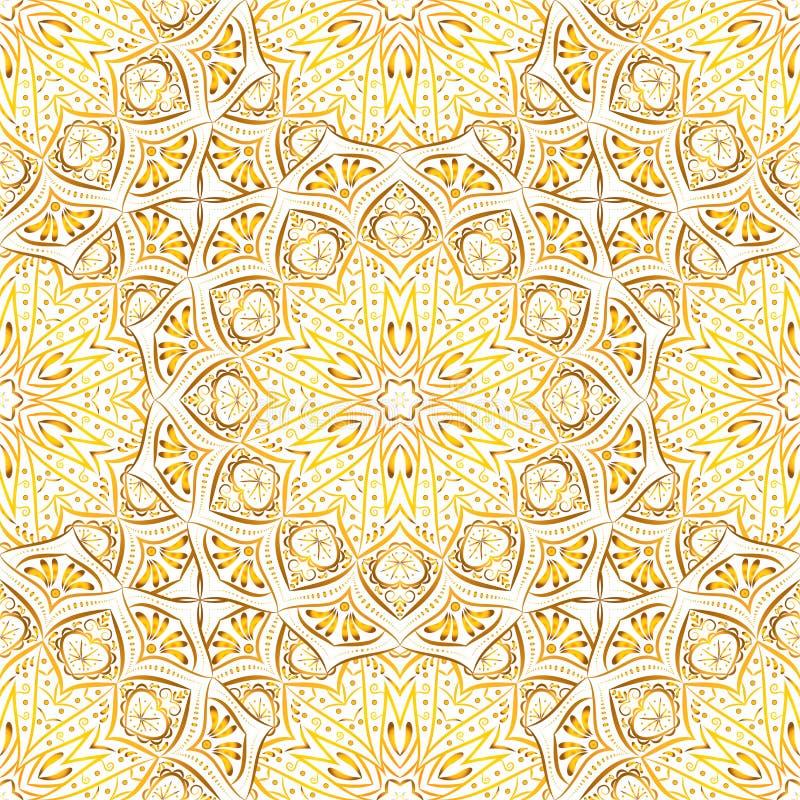 Modelo inconsútil de la mandala de oro en el fondo blanco ilustración del vector