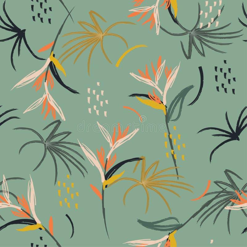 Modelo inconsútil de la mano del arte del ejemplo del cepillo abstracto artístico exhausto colorido de la acuarela Pájaro tropica stock de ilustración