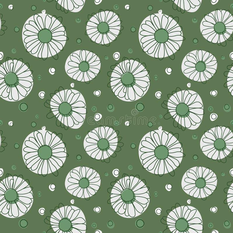 Modelo inconsútil de la manzanilla en fondo verde stock de ilustración