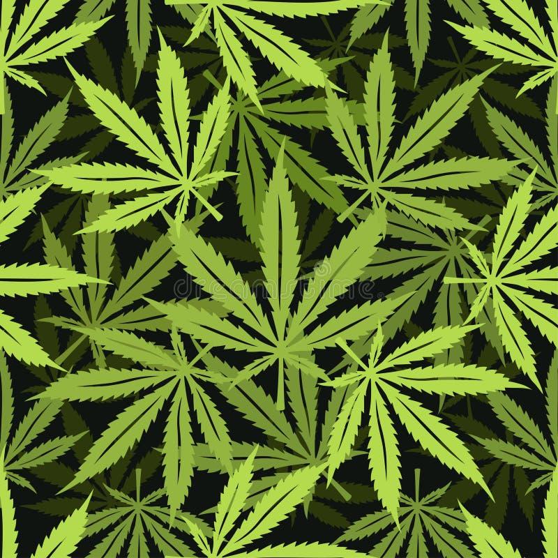 Modelo inconsútil de la marijuana del cáñamo Ilustración del vector stock de ilustración