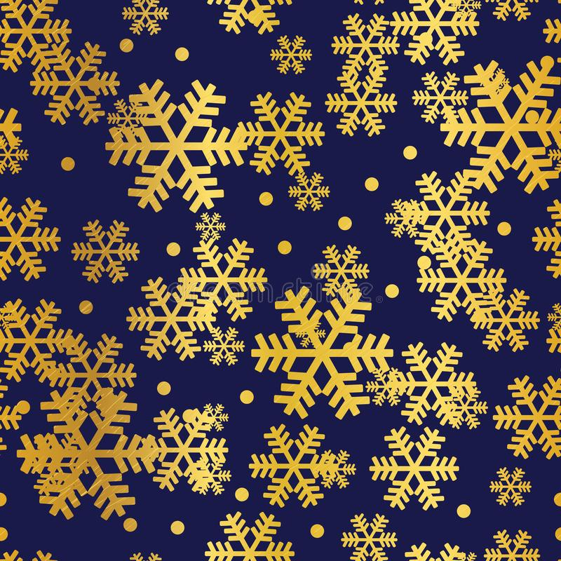 Modelo inconsútil de la marina de guerra de los copos de nieve de oro de la Navidad stock de ilustración