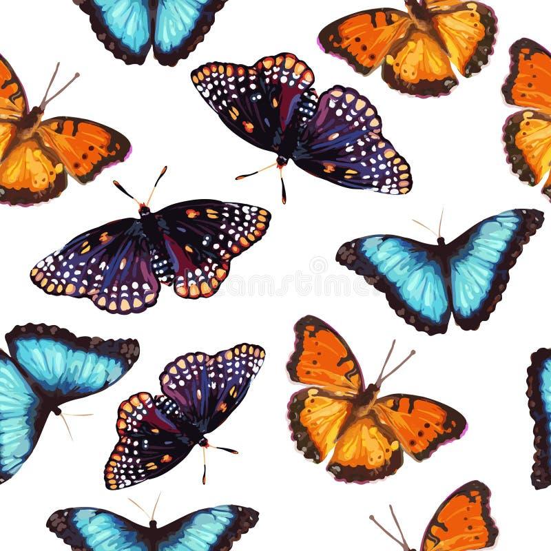 Modelo inconsútil de la mariposa stock de ilustración