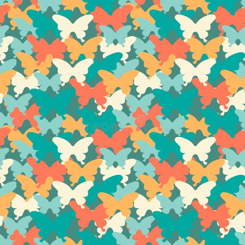 Modelo inconsútil de la mariposa de moda de los colores Conveniente para las materias textiles, el papel de embalaje, la cubierta libre illustration