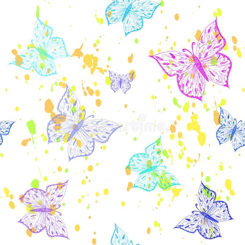 Modelo inconsútil de la mariposa La mano ornamental dibujada bosquejó el ejemplo colorido del vector, aislado en el fondo blanco stock de ilustración