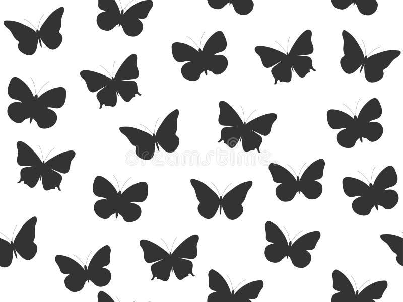Modelo inconsútil de la mariposa Modelo inconsútil de mariposas Color blanco y negro Vector ilustración del vector