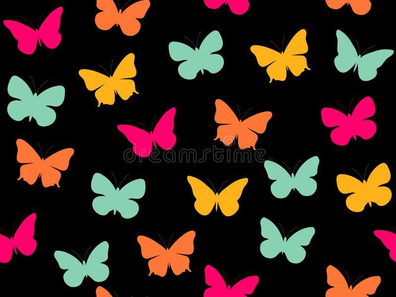 Modelo inconsútil de la mariposa Modelo inconsútil de mariposas Mariposas multicoloras ilustración del vector