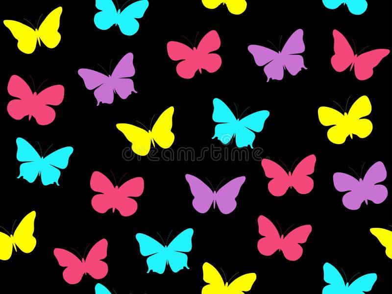 Modelo inconsútil de la mariposa Modelo inconsútil de mariposas Mariposas multicoloras stock de ilustración