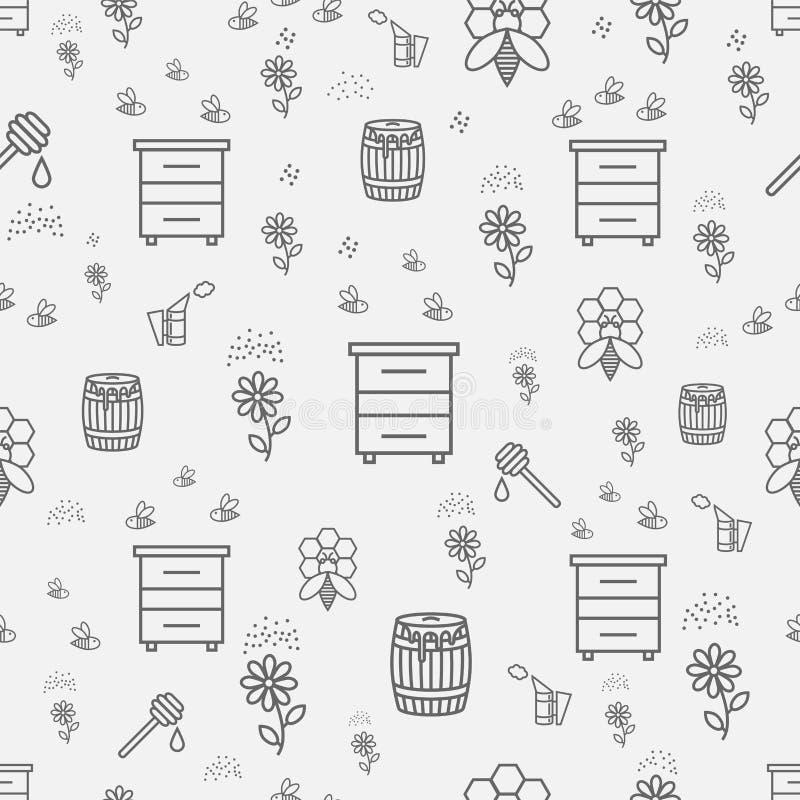Modelo inconsútil de la miel de la abeja con el jardín del apicultor de los productos aislado ilustración del vector