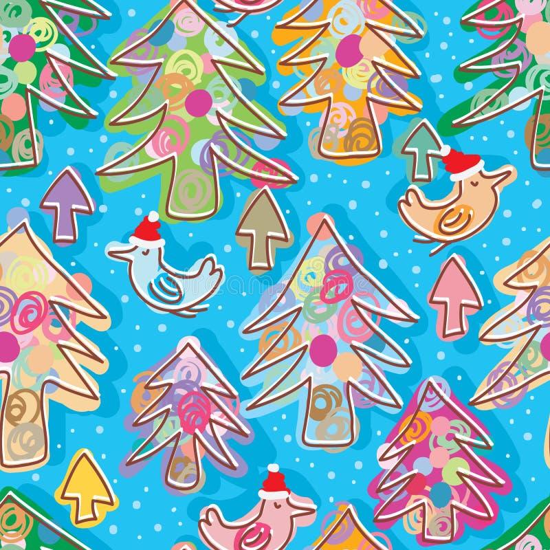 Modelo inconsútil de la mosca de Navidad del pájaro del árbol de pino de la Navidad ilustración del vector