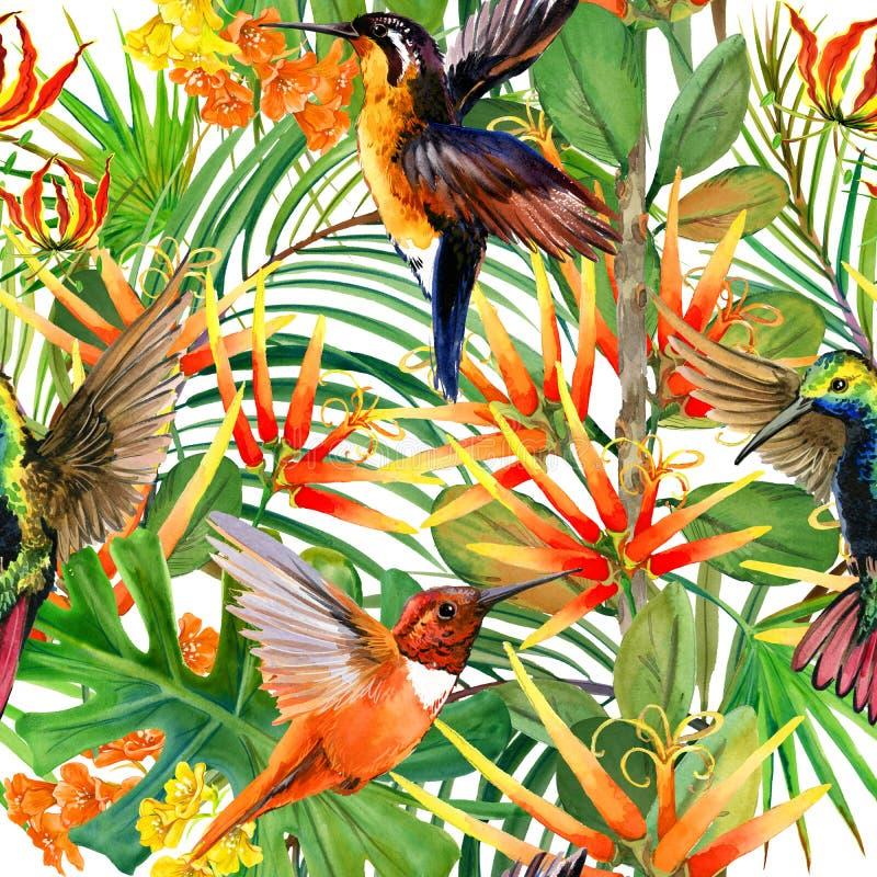 Modelo inconsútil de la naturaleza tropical hermosa Fondo del paraíso stock de ilustración