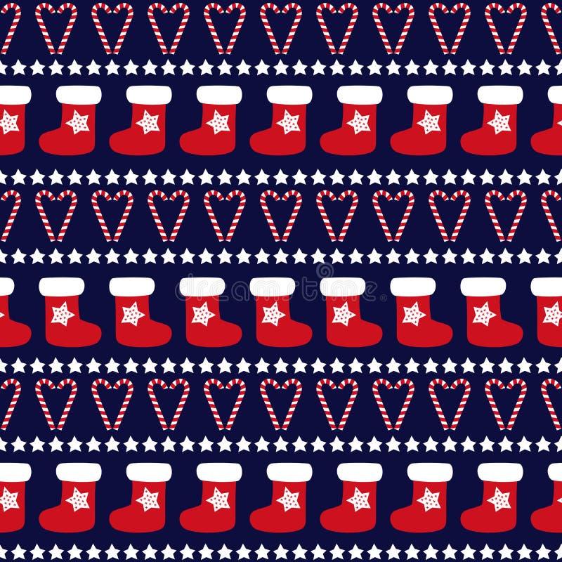 Modelo inconsútil de la Navidad - árboles de Navidad, estrellas y calcetines de Navidad libre illustration
