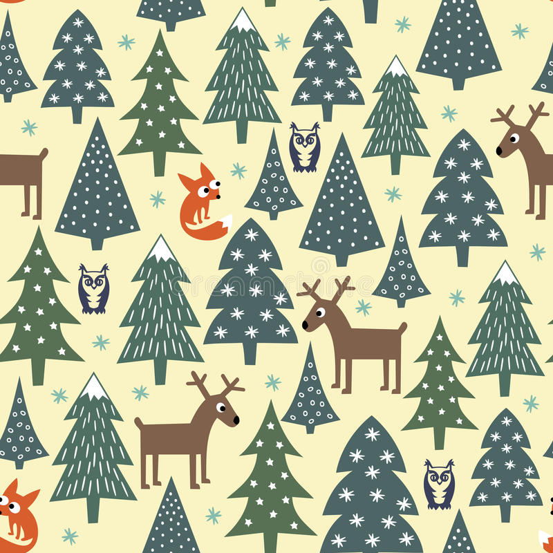 Modelo inconsútil de la Navidad - árboles variados, casas, zorros, búhos y ciervos de Navidad stock de ilustración