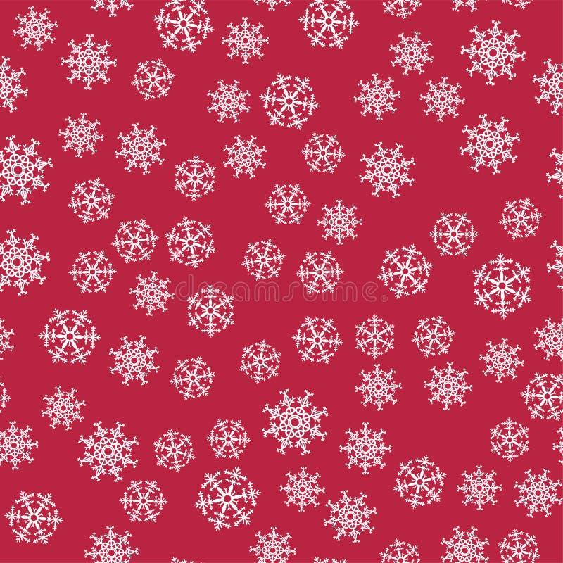 Modelo inconsútil de la Navidad abstracta de los copos de nieve blancos en fondo rojo Para el día de fiesta, Año Nuevo, celebraci ilustración del vector