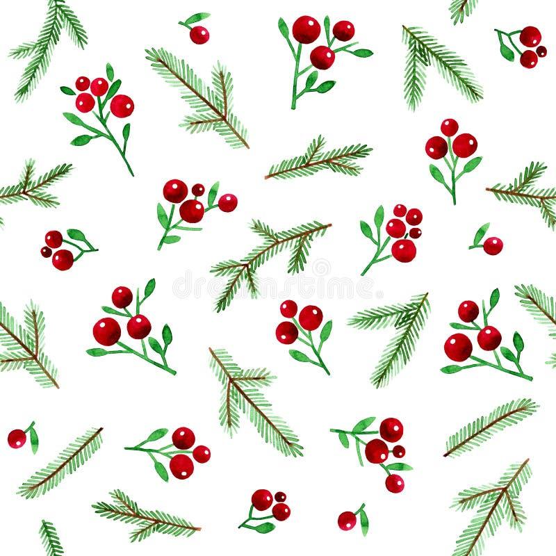 Modelo inconsútil de la Navidad de la acuarela con las bayas y las ramas Spruce en el fondo blanco ilustración del vector