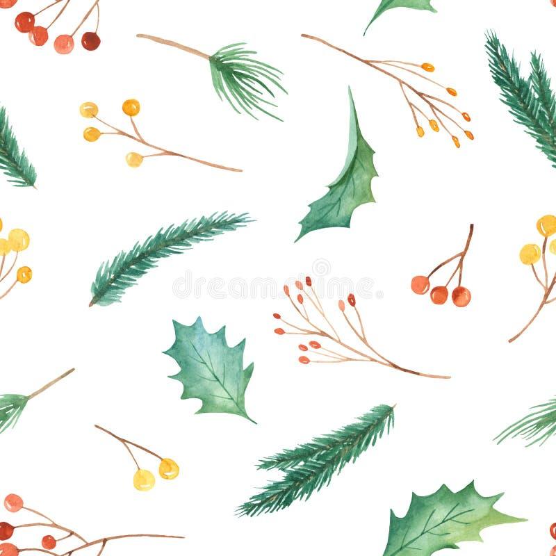 Modelo inconsútil de la Navidad de la acuarela con las plantas Textura con las ramas del abeto, acebo, bayas, pino, hojas ilustración del vector
