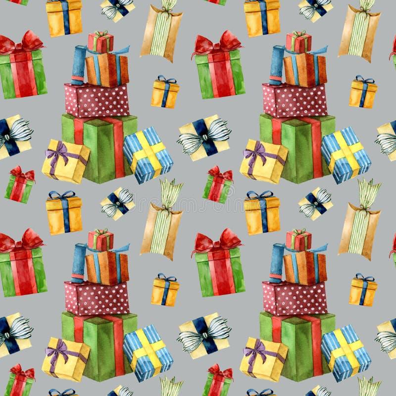Modelo inconsútil de la Navidad de la acuarela con los presentes Cajas de regalo pintadas a mano con la cinta aislada en fondo gr ilustración del vector