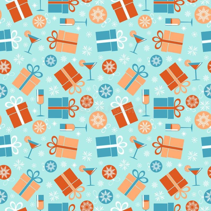 Modelo inconsútil de la Navidad Bolas, regalos y copos de nieve de la Navidad en un fondo azul libre illustration