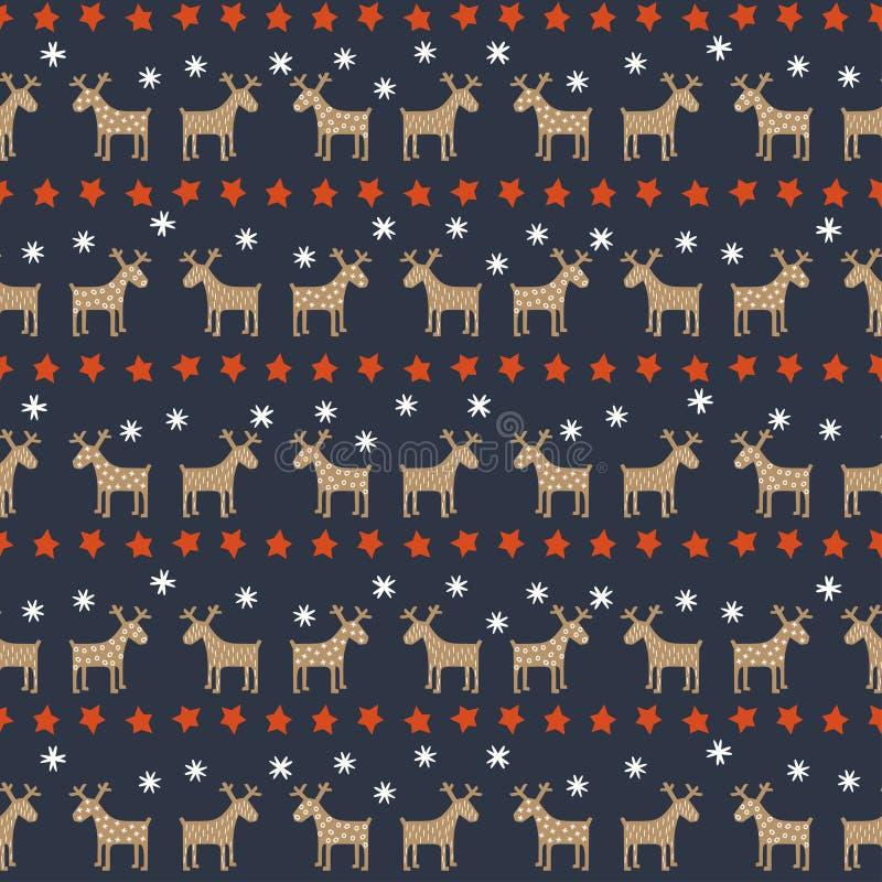 Modelo inconsútil de la Navidad - ciervos, estrellas y copos de nieve ilustración del vector