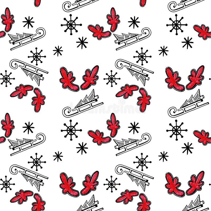 Modelo inconsútil de la Navidad con el árbol en el trineo, los cuernos rojos y los copos de nieve en el fondo blanco ilustración del vector