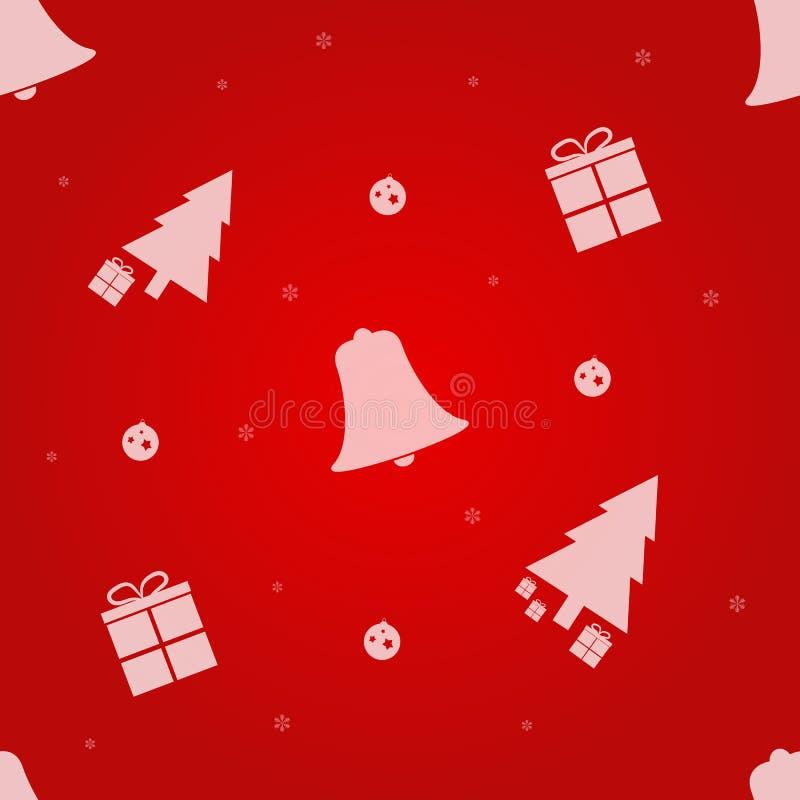 Modelo inconsútil de la Navidad con el árbol de navidad, los regalos, los copos de nieve y Bell Ilustración del vector EPS10 ilustración del vector
