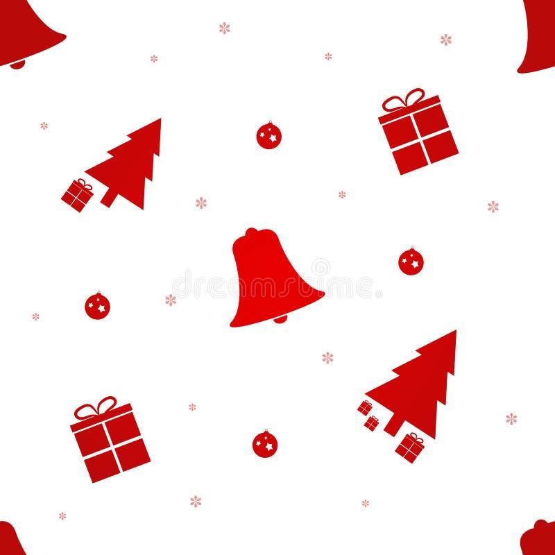 Modelo inconsútil de la Navidad con el árbol de navidad, los regalos, los copos de nieve y Bell Ilustración del vector EPS10 libre illustration