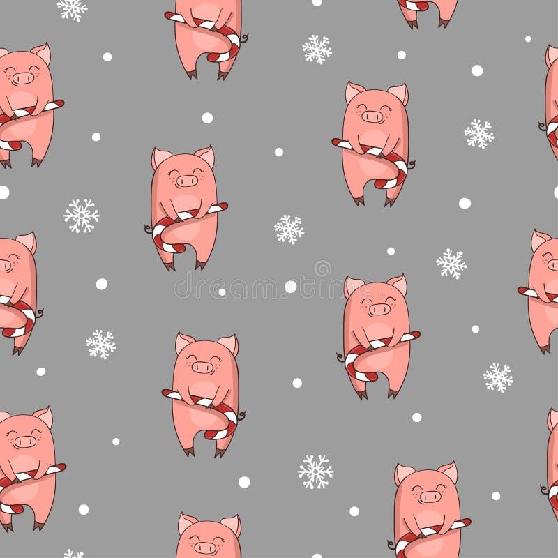 Modelo inconsútil de la Navidad con el cerdo lindo de la historieta con el bastón de caramelo de Navidad ilustración del vector