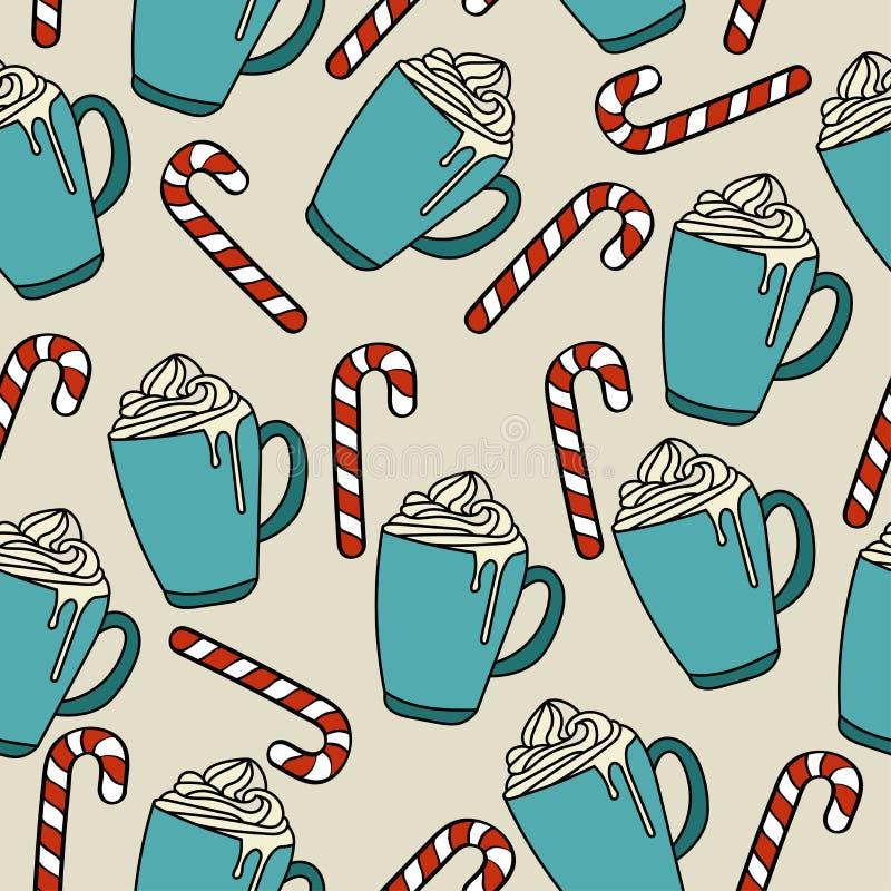 Modelo inconsútil de la Navidad con el chocolate del hor y el bastón de caramelo stock de ilustración