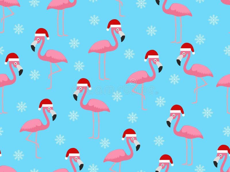 Modelo inconsútil de la Navidad con el flamenco santa y los copos de nieve en fondo azul stock de ilustración