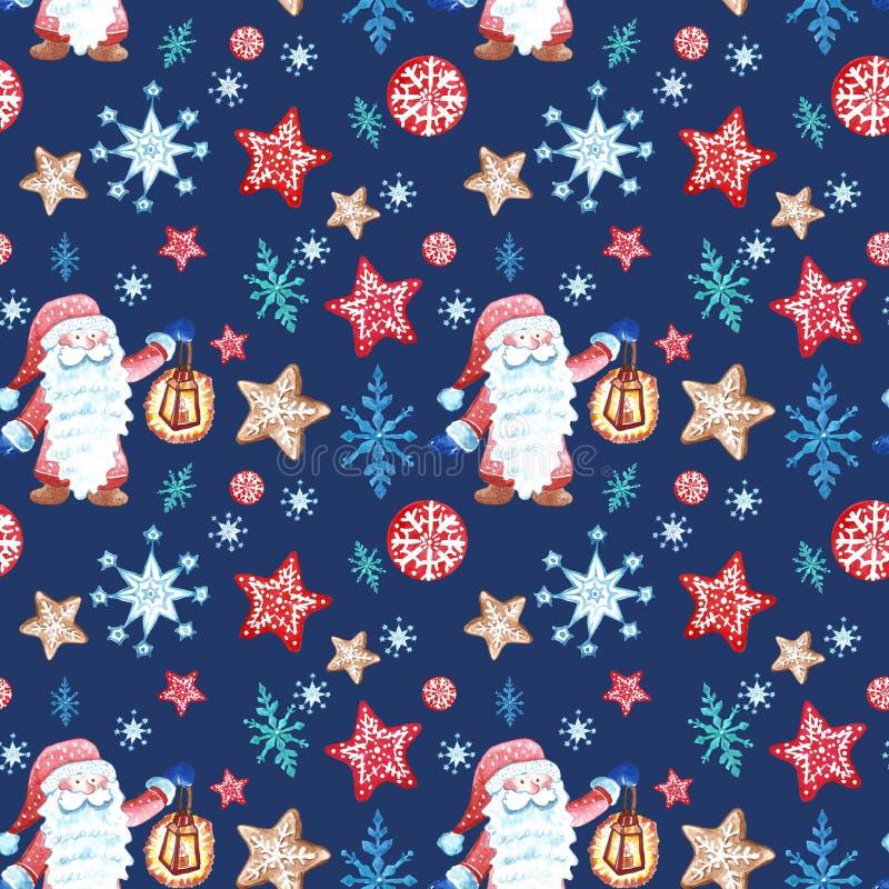 Modelo inconsútil de la Navidad con gnomo escandinavo en ropa roja y con el ornamento de los snowflkes en azul libre illustration