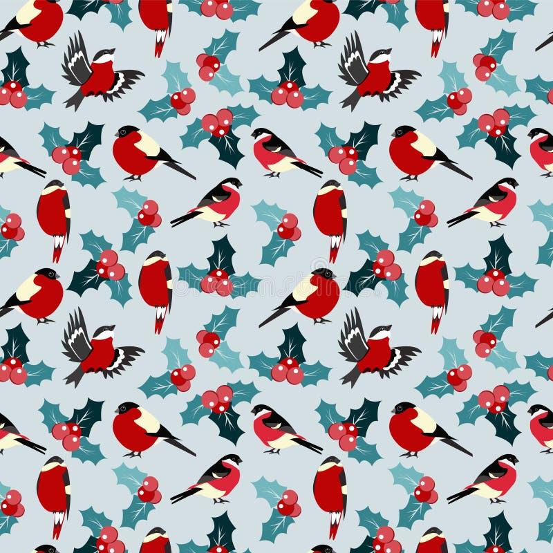 Modelo inconsútil de la Navidad con las bayas acebo de las hojas y los pájaros b stock de ilustración